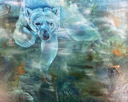polar bear, painting, oilcolor, art, animal art, jääkarhu, taide, maalaus, eläintaide