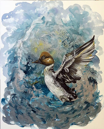 bird art, painting, contemporary painting, sotka, maalaus, taide, eläintaide, nykytaide