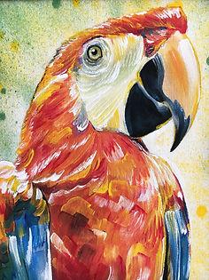 textile painting, textile art, power animals, animal art, tekstiilimaalaus, tekstiilitaide, eläintaide, voimaeläin, parrot, papukaija