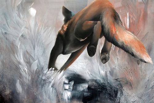 fox, running fox, art, painting, oilcolors, nykytaide, kettu, taide
