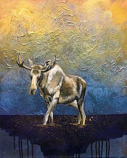 painting, animal art, moose, light, spirit animal, voimaeläin, hirvi, maalaus, taide, eläintaide