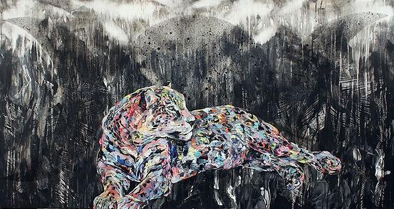 leopard, painting, art, fine art, animal art, poweranimal, moon, leopardi, voimaeläin, maalaus, taide
