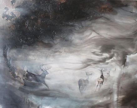 deers, running deers, art, animal art, painting, peura, peuramaalaus, taide