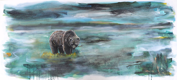bear, night, art, painting, contemporary art, animal art, karhu, maalaus, eläintaide, nykytaide