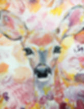 bambi, flower, childrensroom art, art, cute, interior, lastenhuoneen taide, peura, kukat, sisustus