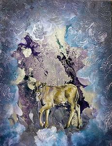painting, vasikka, maalaus, animal art, eläintaide, taide, art, vapaus, freedom, interior