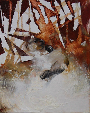 otter, art, animal art, painting, saukko, maalaus, taide