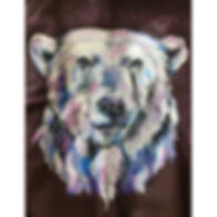 textile painting, textile art, power animals, animal art, tekstiilimaalaus, tekstiilitaide, eläintaide, voimaeläin. polar bear, jääkarhu