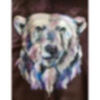textile painting, textile art, power animals, animal art, tekstiilimaalaus, tekstiilitaide, eläintaide, voimaeläin. polar bear, jääkarhu