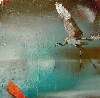 crane, common crane, painting, art, kurki, maalaus, taide