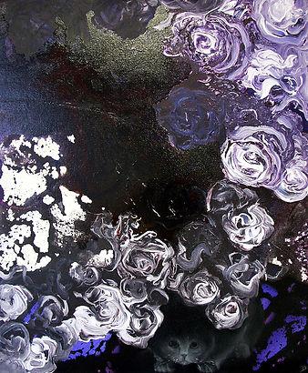 cat, hiding cat, roses, flowers, art, painting, kissa, taide, maalaus, ruusut, öljyväri