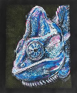 textile painting, textile art, animal art, tekstiilimaalaus, voimaeläin, kameleontti, chameleont