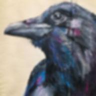 textile painting, textile art, power animals, animal art, tekstiilimaalaus, tekstiilitaide, eläintaide, voimaeläin, korppi