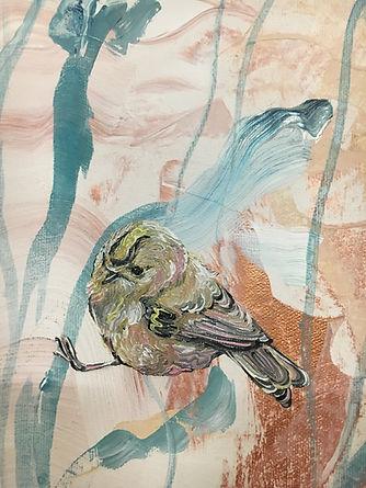 goldcrest, hippiäinen, maalaus, painting