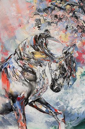 horse, animal art, colors, expressive art, power animal, hevonen, maalaus, taide, sirkus