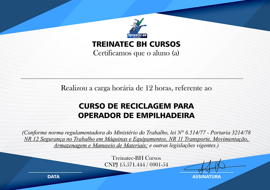 CERTIFICADO DO CURSO DE REC. EMPILHADEIR