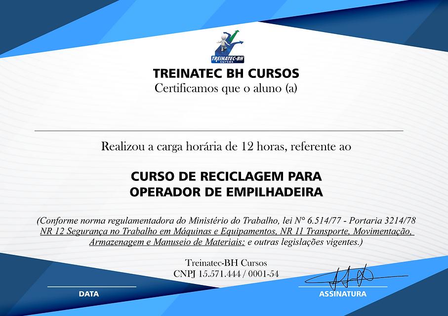 CERTIFICADO DO CURSO DE REC. EMPILHADEIR
