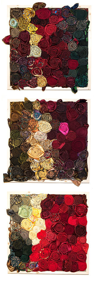 roses, ties, textile art, recycled art, neck ties