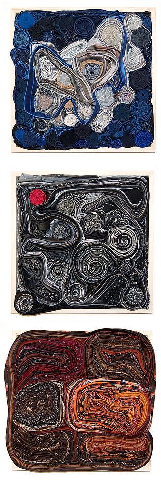 smoke, factory, ties, brick, textile art, recycled art