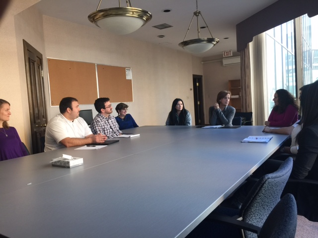 CLA and LAW students sharing their clinic experiences with LFO Chair Linda Rothstein