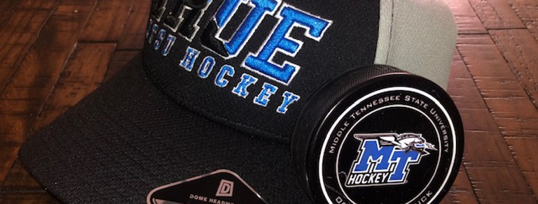 MTSU True Black and Blue Ice Hockey, 3D Embroidered hat.