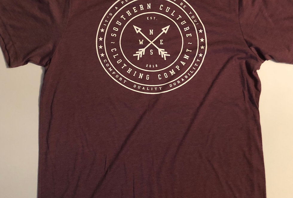 Southern Culture arrow tee front maroon