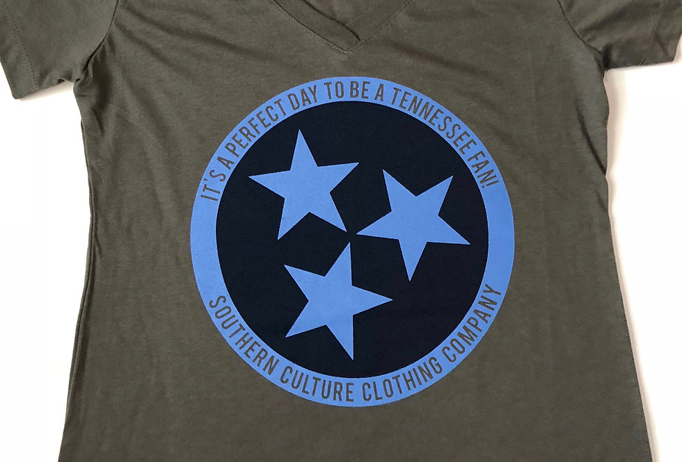 Southern Culture titans tristar front v neck gray ladies tee