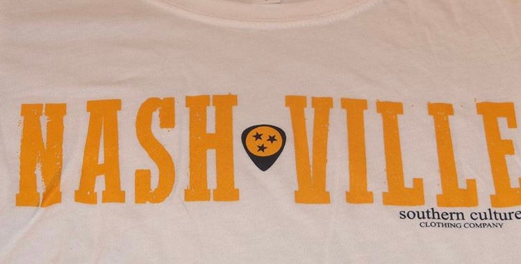 Nashville Guitar Pick Short Slv. Ladies Tee by Next Level