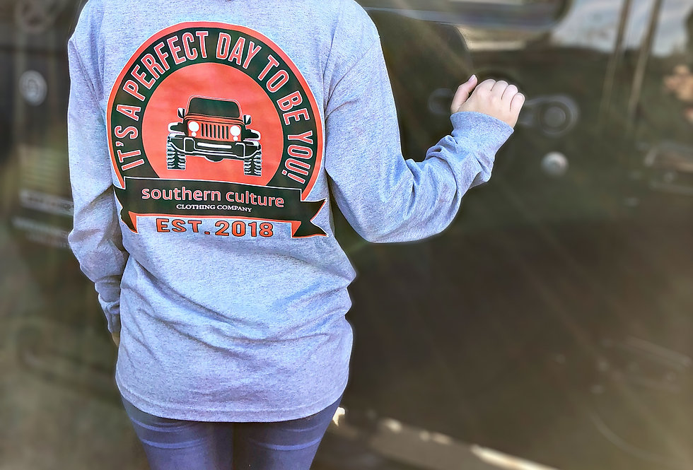 Perfect Day Jeep, unisex, Pocket Tee by Bayside. Two colors available.