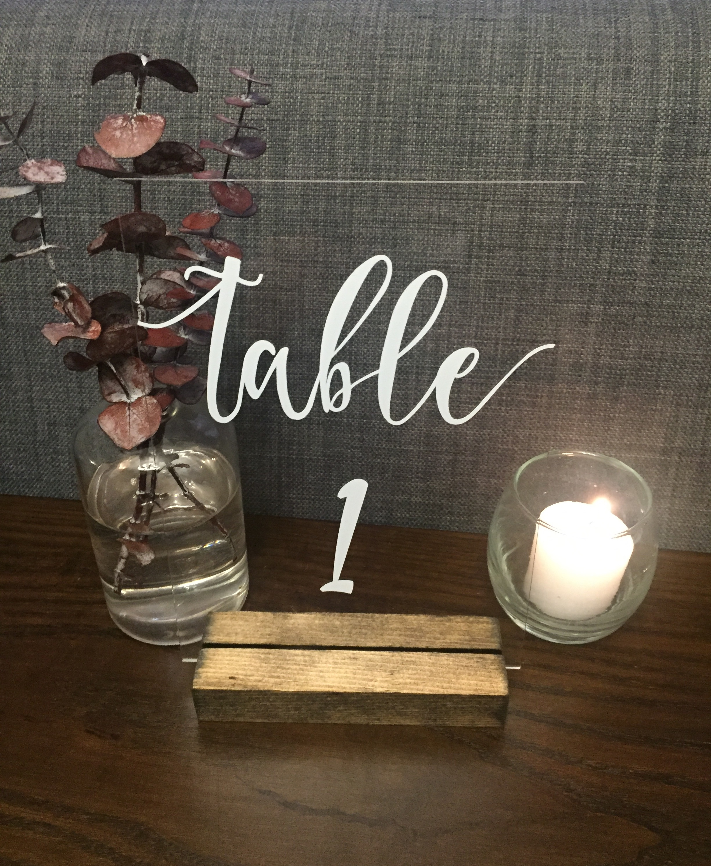 Acrylic Table Numbers with Wood Base