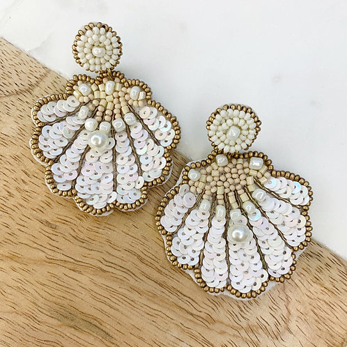 White Seashell With Pearl Statement Earrings by Prep Obsessed