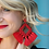 Thumbnail: Ellie Fringe Drop Earrings Red