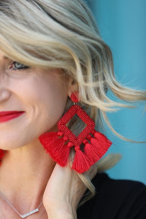 Ellie Fringe Drop Earrings Red