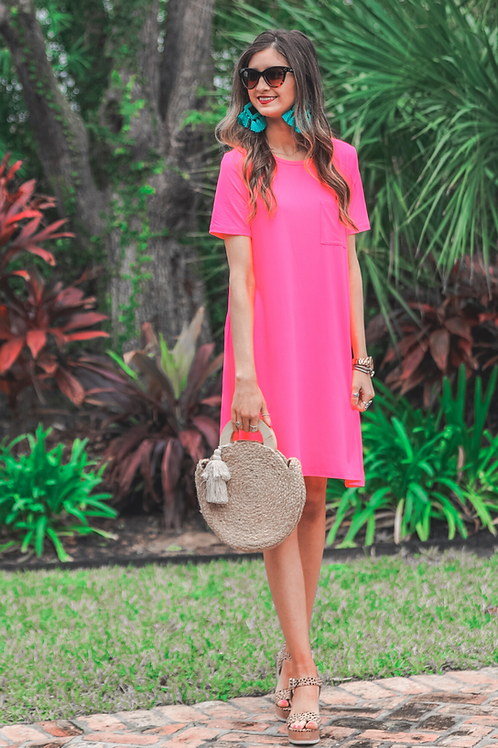 Maddy T-Shirt Dress in Hot Pink