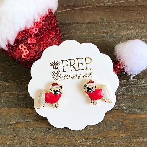 Christmas Hat Pug Enamel Studs by Prep Obsessed