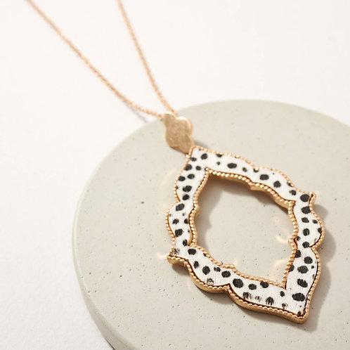 Dalmatian Print Calf Hair Pendant Long Necklace