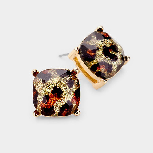 Gold Glitter Leopard Stud Earrings