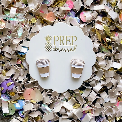 'But First, Coffee' Signature Enamel Studs by Prep Obsessed