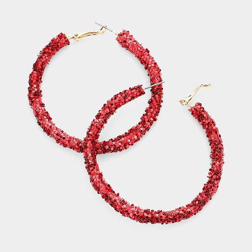 Etta Glitter Hoops in Red
