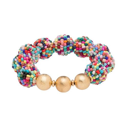 Seed Bead Ball Stretch Bracelet Confetti