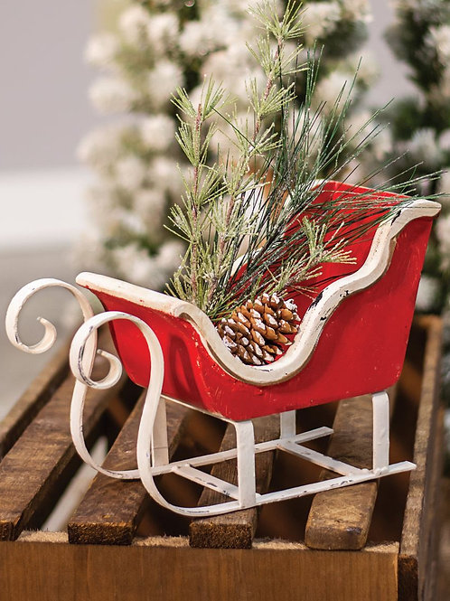 Rustic Red & White Sleigh