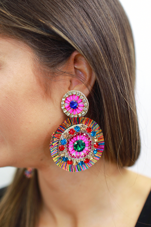 Sippin At Sunset Beaded Fringe Earrings