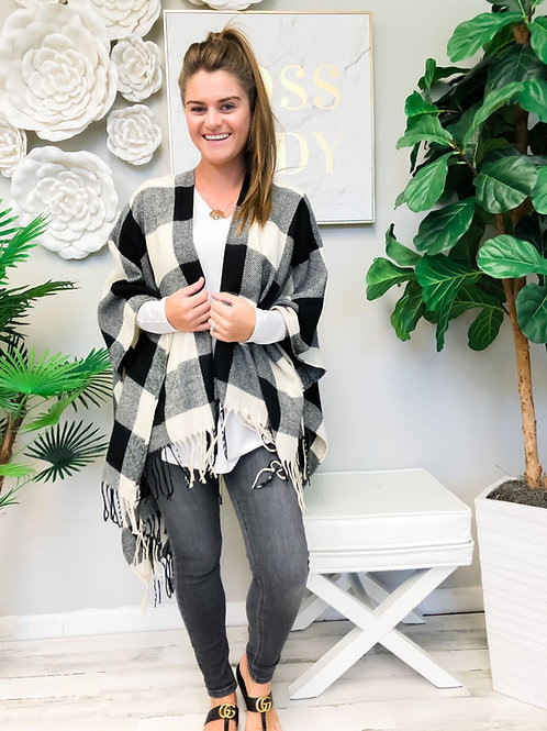 Cozy White Buffalo Check Open Poncho by Prep Obsessed