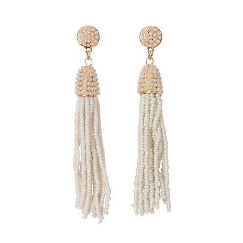 Seed Bead Tassel Earrings Pearl