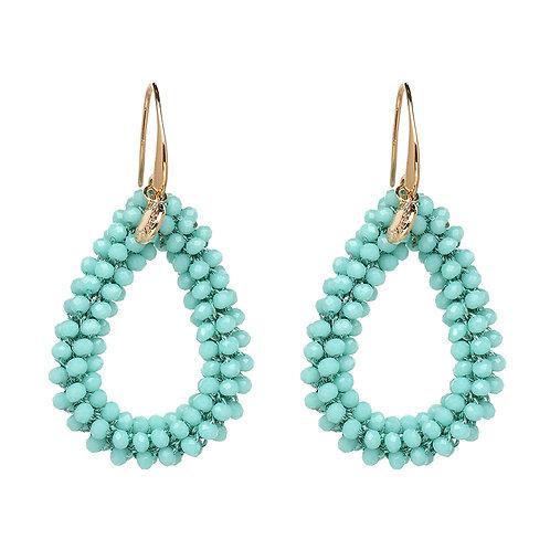 Cerulean Beaded Teardrop Earrings