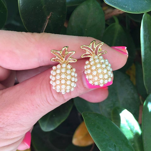 Gold Pineapple Pearl Studs by Prep Obsessed