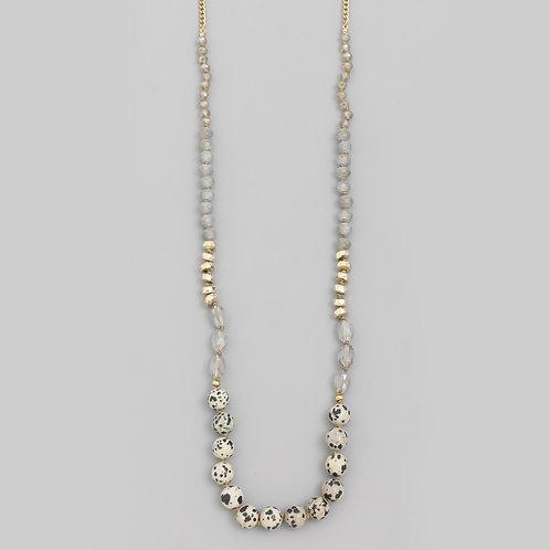 Dalmatian Round Stone Bead Necklace