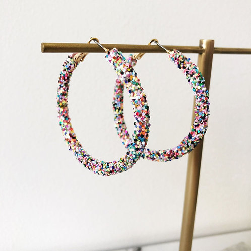 Etta Confetti Glitter Hoop Earrings by Prep Obsessed