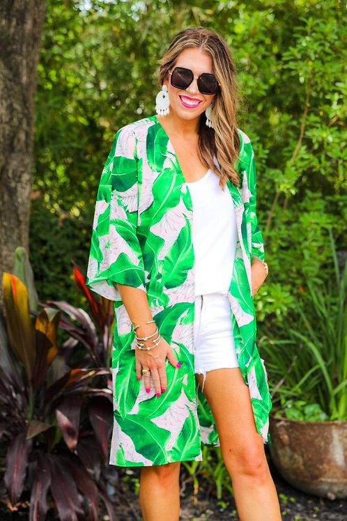 Taytum Tropical Print Kimono