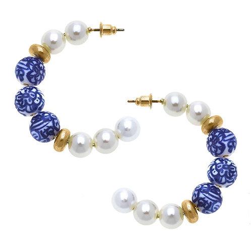 Margaret Chinoiserie & Pearl Hoop Earrings in Blue & White